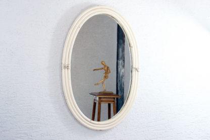 Grand miroir en rotin ovale
