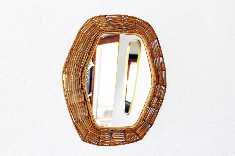 miroir en osier tress syn brocante. Black Bedroom Furniture Sets. Home Design Ideas