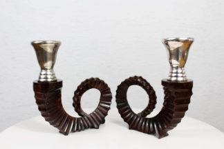 Duo de bougeoirs en forme de cornes