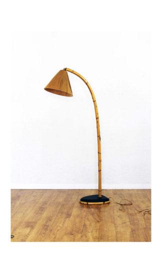 """Lamppadaire vintage dit """"bambou"""" / rotin"""