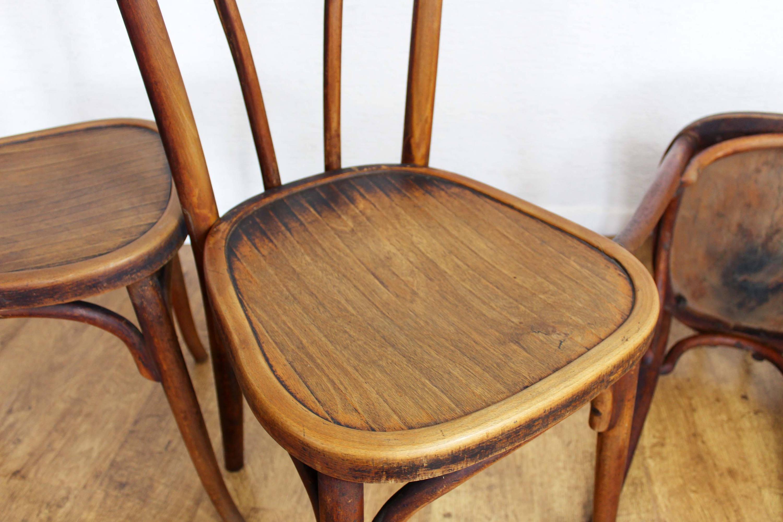 Lot de 4 chaises bistrot Baumann années 20/30
