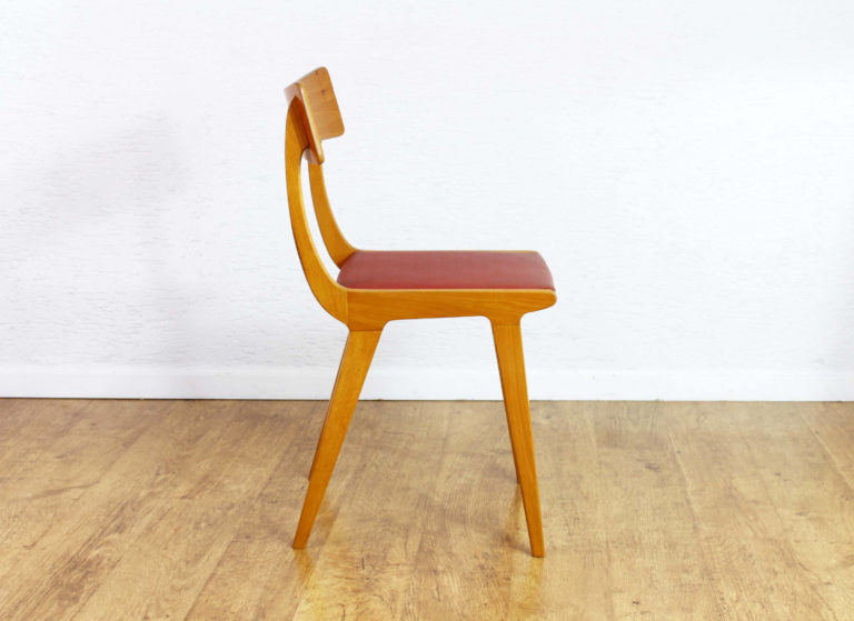 Chaise scandinave / vinyle rouge