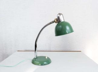 Lampe de bureau vintage en métal verte et chrome