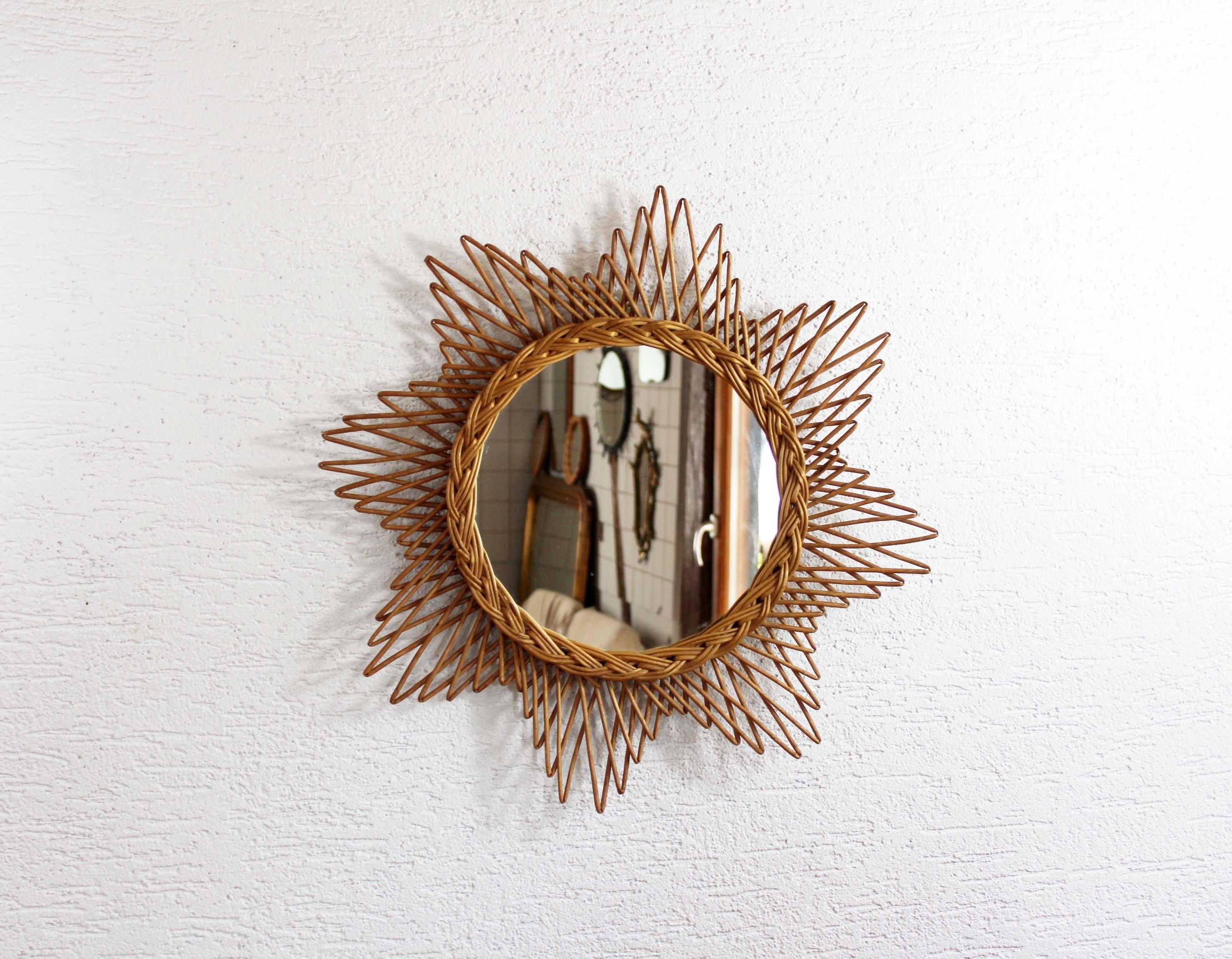 miroir soleil ou toile en osier syn brocante. Black Bedroom Furniture Sets. Home Design Ideas