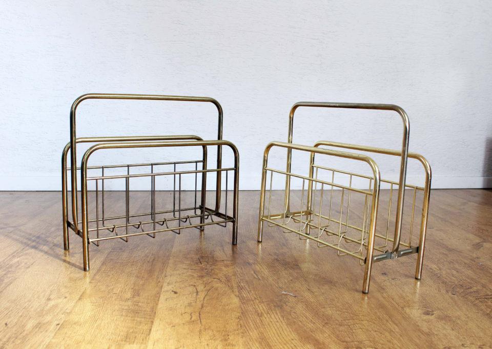 Duo de porte revues vintage en métal doré