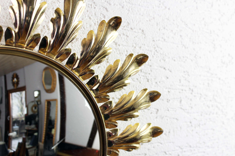 Miroir Oeil de sorcière / miroir bombé décor feuile d'Acanthe