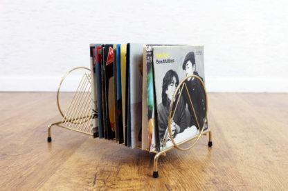 Porte vinyles vintage en métal doré