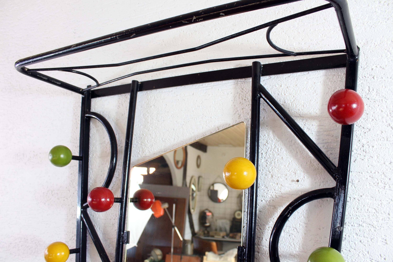 porte manteau boules ann es 60 70 avec miroir forme libre syn brocante. Black Bedroom Furniture Sets. Home Design Ideas