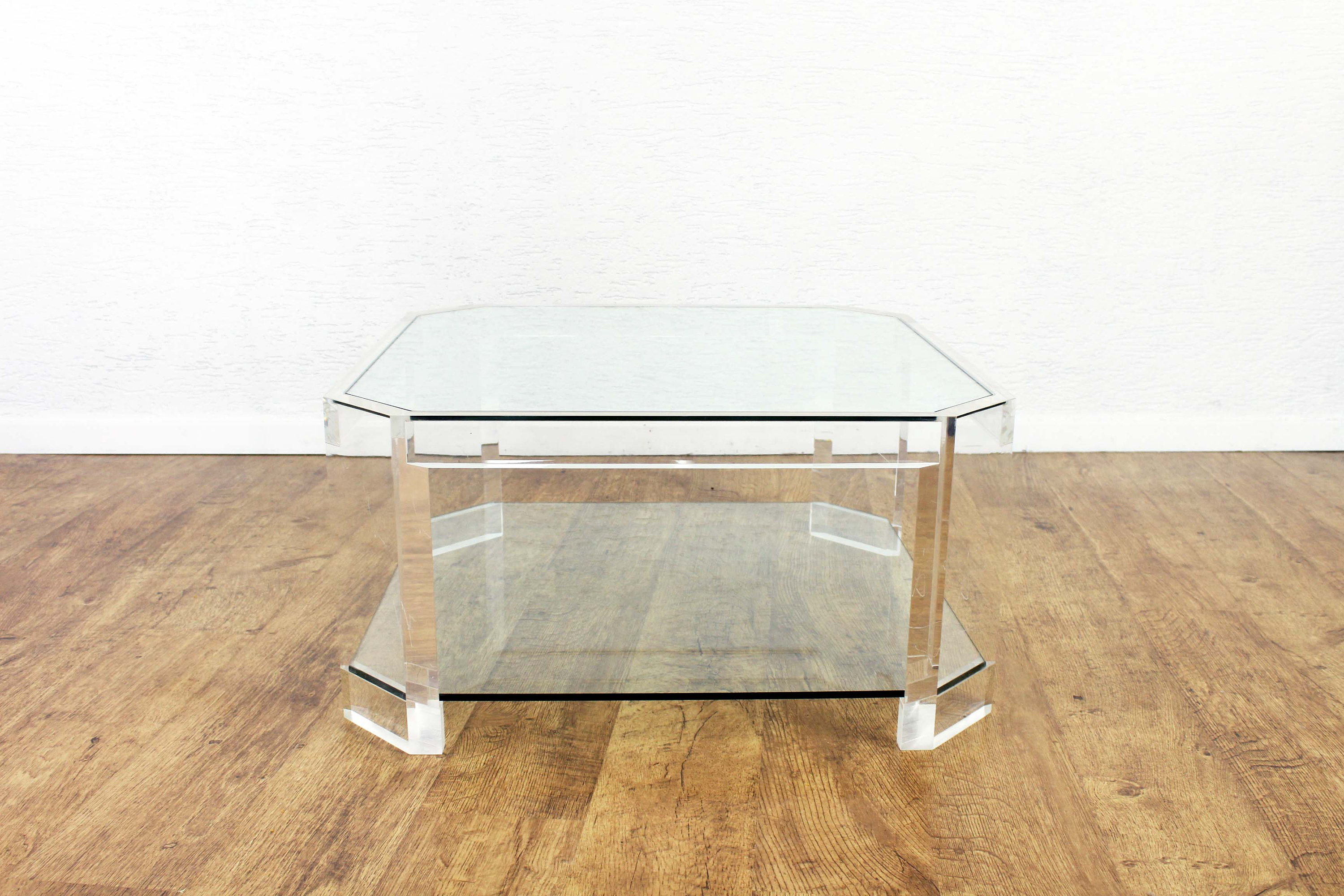 Table basse en plexiglas et verre par David Lange