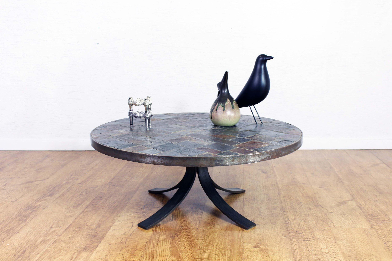 Table Basse An Acier, Ardoise Et Pierre Volcanique