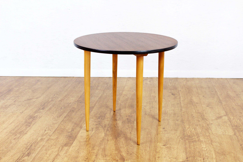 Table basse d\'appoint , table ronde vintage , table années années 60/70,  table teck