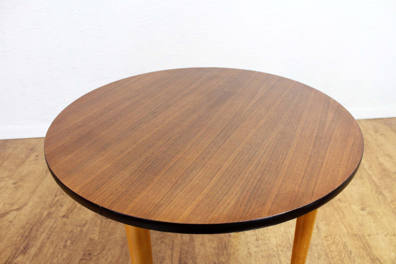 6070Teck Années D'appointRonde Vintage Basse Table WEDH29I