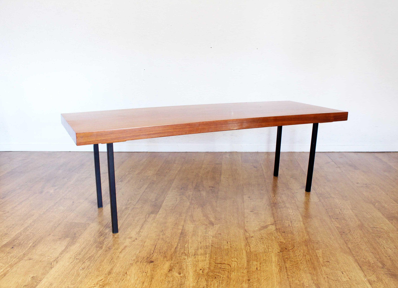 Table Basse Avec Rallonge.Grande Table Basse En Teck Et Metal Avec Rallonge